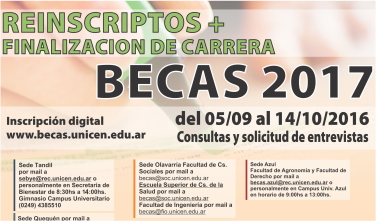 Becas 2017 - Reinscriptos + Fin de Carrera